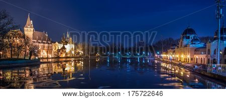 Night view of Vajdahunyad castle with Ice Rink in City Park Budapest Hungary
