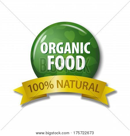 Green Label With Words 'organic Food - 100% Natural'