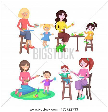 Mother feeding naughty children with spoon or fruit and vegetables colourful collection on white. Vector illustration of young moms sitting on stool or ground and giving healthy food for kids