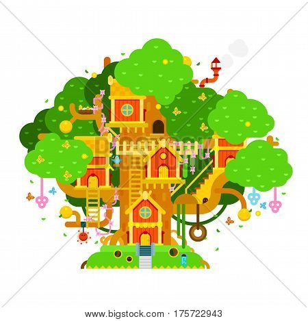 Children treehouse colorful vector illustration with houses, branches, leaves, flowers, birds, ladders, chimney for kids playground. House on the tree vector flat design.