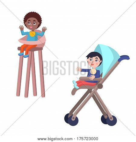 Cute toddlers in child bibs. Little caucasian boy and african american girl seating in baby carriage and highchair flat vector isolated on white. Happy children illustrations for parenthood concepts