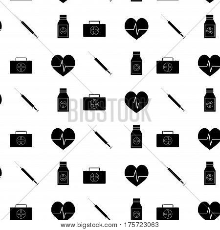 Monochrome pattern medicine. Injection and first aid kit vector illustration