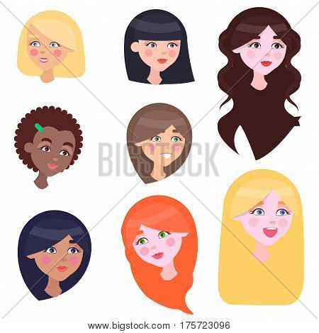 Women face emotions set with long and short hairstyles red brown black and fair colours. Collection of icons with mother s kindness expressed in her eyes. Vector poster of female kind looks.