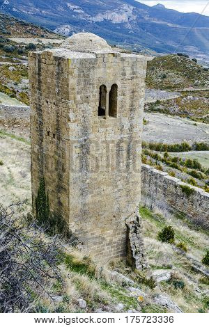 Medieval castle of Loarre over the rocks in Aragon Spain