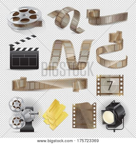 Movie equipments colourful vector collection. Poster of celluloid types, lightning searchlight, paper tickets and other traditional elements set for film making and watching on transparent background