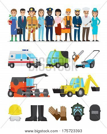 Profession representatives and equipments set on white. Vector poster of pilot and stewardess, doctor and policeman, fireman and gardener, businessman and waitress set of vehicles and tools