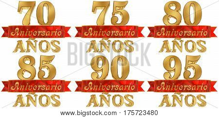Set of golden digit and the word of the year. Translated from the Spanish. 3D illustration