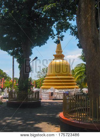 Dambulla, Sri Lanka - April 30, 2009: The sculpture at Buddhists' cave temple in Dambulla at Sri Lanka