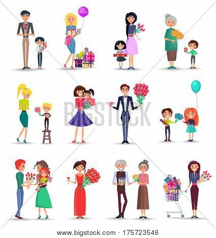 Women s happy day concept colourful collection on white. Vector poster of smiling female people getting flowers and presents from kids and grandchildren, husbands and boyfriends in flat style