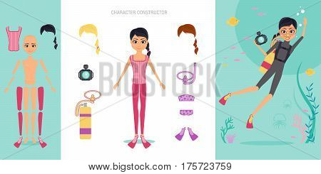Aqualunger character constructor set. Cartoon vector flat infographic illustration. Girl diver in swimsuit and mask engaged in snorkelling and diving. Shooting for the camera of the underwater world