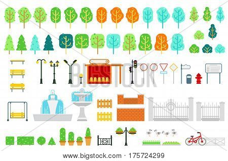 City and park map vector elements in flat design with tree, bush, bench, swing, lamp, station, traffic light, signs, pointer, bulletin board, fountain, fence, hedge flowerbed for infographic design