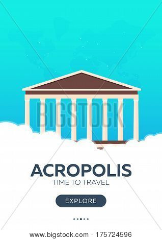 Greece. Acropolis. Time To Travel. Travel Poster. Vector Flat Illustration.