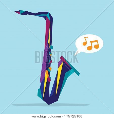 Flat illustration of dynamic hype colorful saxophone