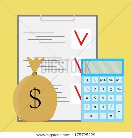 Audit counting money. Financial accounting checklist and calculation finance vector illustration