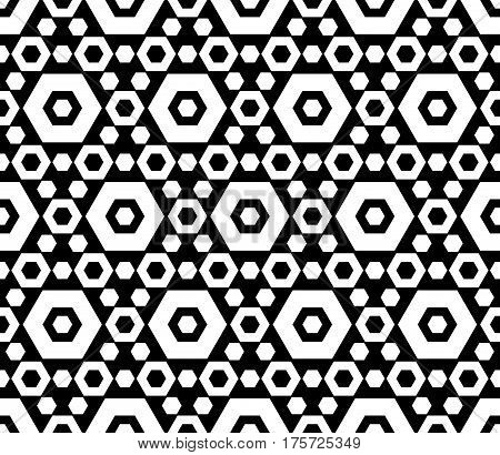 Vector monochrome texture, black & white hexagonal geometric seamless pattern. Contrast abstract background with different sized hexagons, symmetric structure. Design element for decor, fabric, prints, cover, wrapping paper, textile, furniture, clothes