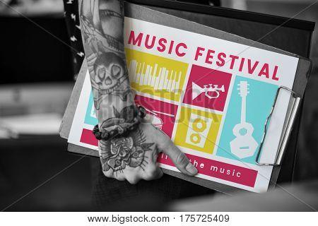 Illustration of music festival passion leisure activity