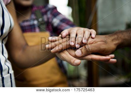 Diversity people hands stack team-building together