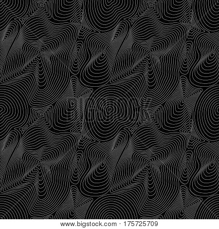 Vector monochrome seamless pattern, curved lines, black & white layered texture. Abstract endless dynamical rippled surface, visual halftone 3D effect, illusion of move. Stylish dark digital design