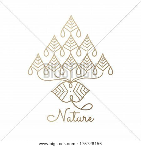 Vector logo of floral element.Abstract flower icon. Emblem for design of natural products, flower shop, cosmetics and ecology concepts, health, spa and yoga, holistic medicine Center. Linear style on white isolated background.