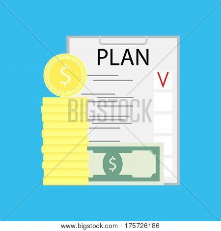 Business plan concept. Financial plan and banknote profit vector illustration