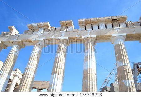 the ancient columns of Parthenon Acropolis in Athens city Greece