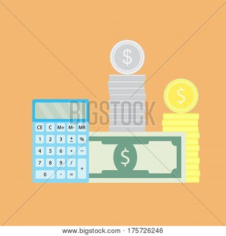 Count money vector. Saving cash investment financial and payment tax illustration