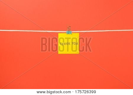 Yellow Paper Note On Clothesline With Text Thank You