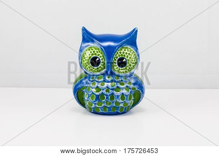 one ceramic blue owl bric-a-brac curio item