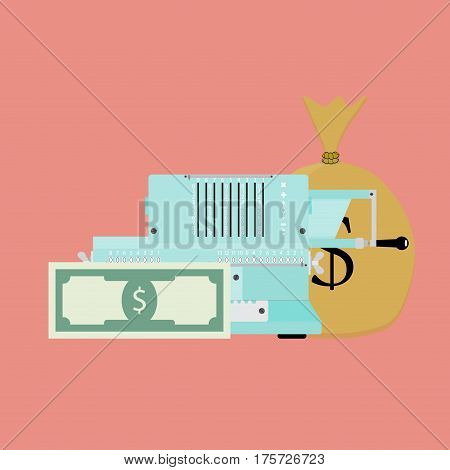 Count money banknote. Count income and salary vector illustration
