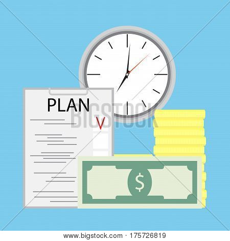 Planning money and time. Plan income wealth vector illustration