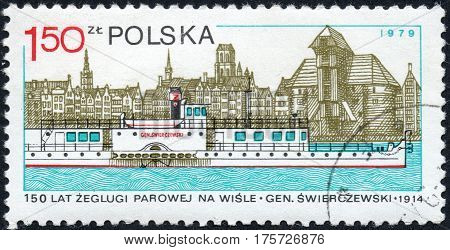 UKRAINE - CIRCA 2017: A stamp printed in Poland shows Steamer General Swierczewski and Gdansk 150th Anniversary of the Vistula River Navigation circa 1979