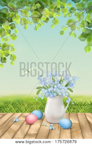 Happy Easter Card. Vector spring flowers and eggs. Landscape with eggs, grass, tree branches and bouquet in ceramic jug