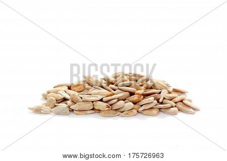 image of a Natural shelled sunflower seeds , white background
