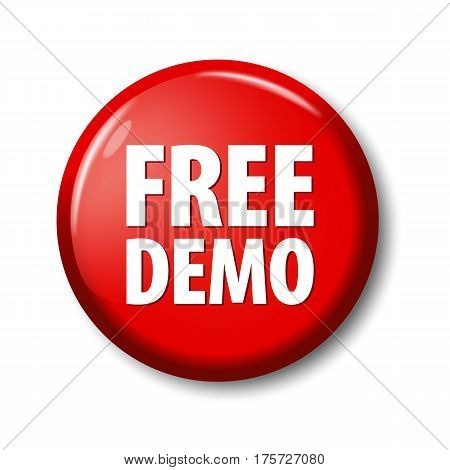 Bright Red Button With Words 'free Demo'