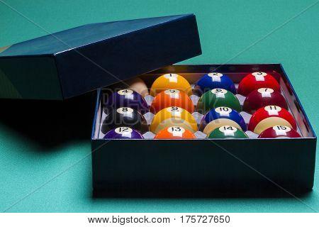 Billiard balls set in a box. Billiard