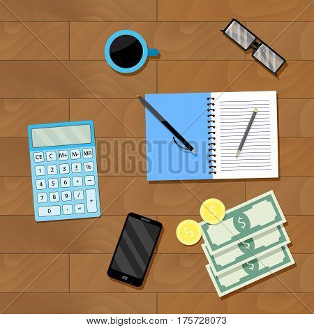Counting money top view. Financial accounting investment money. Vector illustration