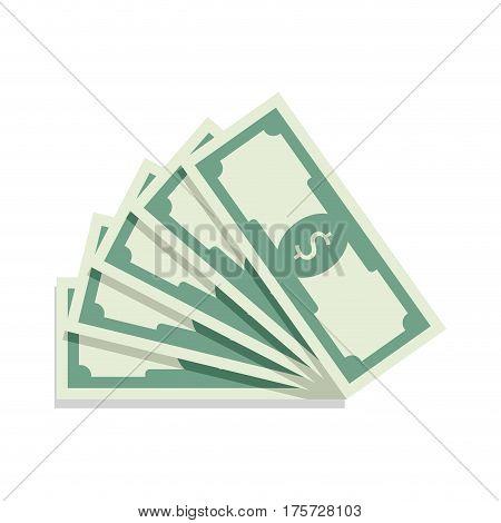 Fan of banknote vector. Bill money currency finance dollar illustration