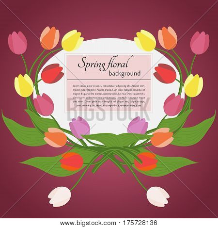 Card with spring tulips and simple text on a pink background. For use as logos on cards in printing posters invitations web design and other purposes.