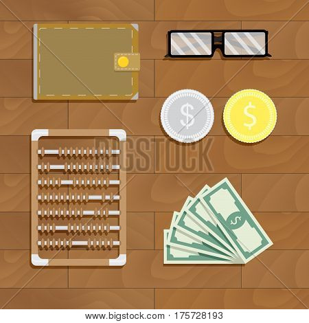 Calculation of finance. Accounting work place. Vector illustration