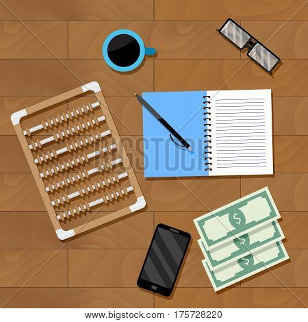 Accounting workplace vector. Financial office calculation accounting illustration