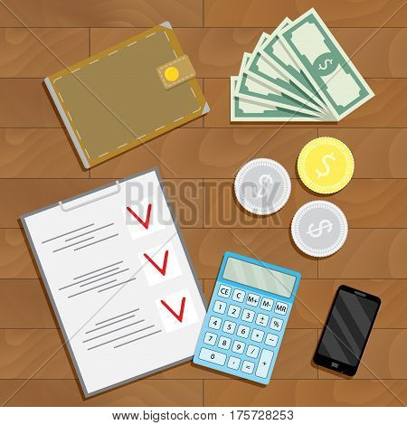 Financial accounting and verification. Finance checklist on desk vector illustration