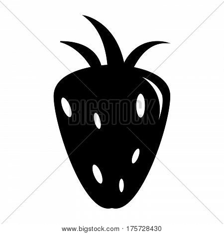 a Simple flat black stawberry icon vector