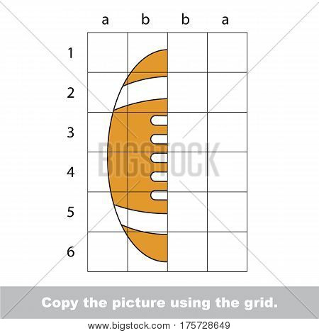 Finish the simmetry picture using grid sells, vector kid educational game for preschool kids, the drawing tutorial with easy game level for half of American Football Ball.