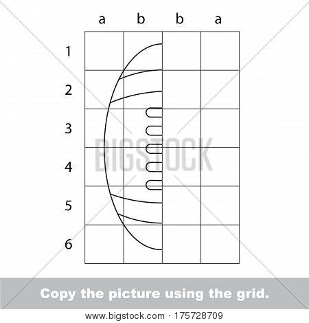 Finish the simmetry picture using grid sells, vector kid educational game for preschool kids, the drawing tutorial with easy gaming level for half of Ball for American Football.