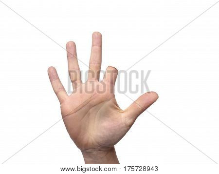Hand With Amputated Index Finger With Room For Copy