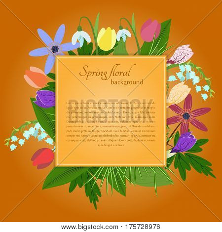 Spring flovers invitation on a orange background. For use as logos on cards in printing posters invitations web design and other purposes.