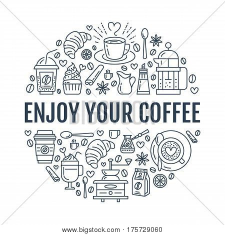 Coffee making poster template. Brewing vector line icon, circle illustration for menu. Elements - coffeemaker, french press, coffee grinder, espresso, croissant, cupcake.