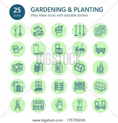 Gardening, planting and horticulture line icons. Garden equipment, organic seeds, fertilizer, greenhouse, pruners, watering can and other tools. Vegetables, flower cultivation linear signs.