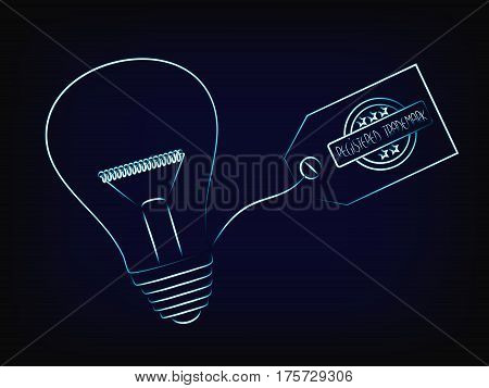vector of idea lightbulb with trademark tag concept of intellectual property and inventiveness with mesh background