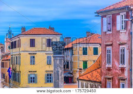 Colorful scenic at Zadar town, popular summer travel destination in Europe, Croatia.